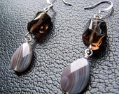 Stone Drop Earrings - Smoky Quartz Nuggets and Botswana Agate Teardrops in Silver - Clearance