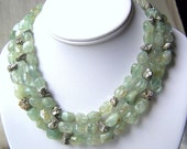 Triple Strand Stone Statement Necklace - Aquamarine and Pyrite with Vintage Clasp