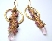 Stone Cluster Long Dangle Earrings with Rose Quartz Teardrops, Rainbow Tourmaline and Floral Pattern Gold Hoops