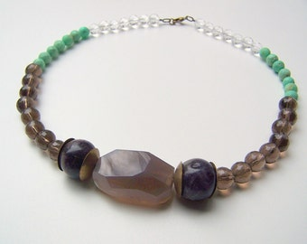 Beaded Gemstone Statement Necklace with Amethyst, Smoky Quartz, Chrysoprase, Quartz, and Faceted Chalcedony Nugget
