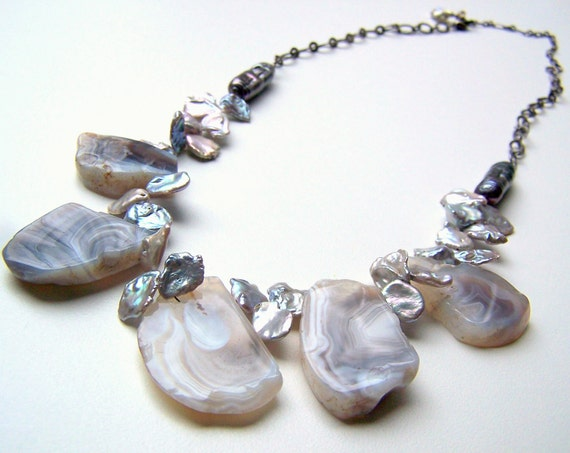 Gray Chalcedony Statement Necklace with Freshwater Pearls and Gunmetal Chain - Adjustable Length