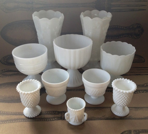 Milk Glass Wedding Collection 10 pieces