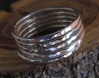 Set of 5 Skinny Hammered Silver Stack Rings