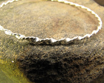 Double Twisted Argentium Sterling Silver Bangle Bracelet