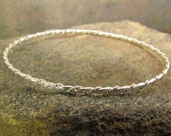 Twisted argentium sterling silver bangle bracelet