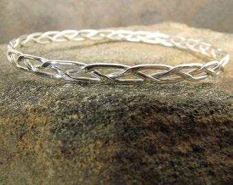 Braided and Hammered Argentium Sterling Silver Bangle Bracelet
