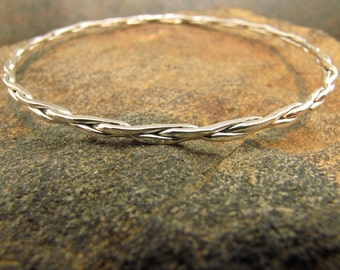 Square Braided Argentium Sterling Silver Bangle Bracelet