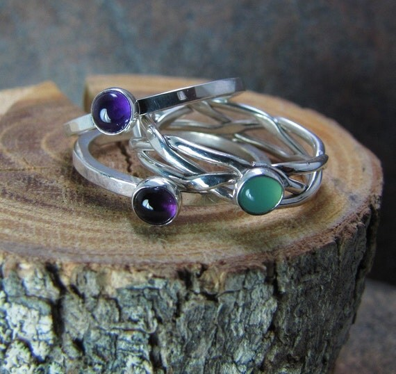 Argentium Sterling Silver Stacking Ring Set with Mixed Gemstones