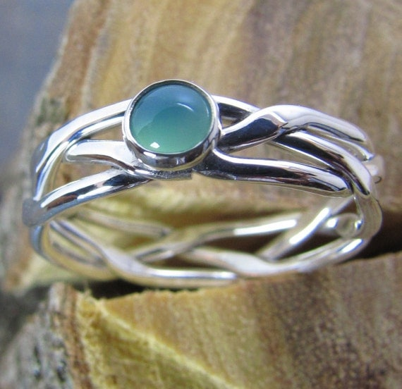 Argentium Sterling Silver Ring Braided and Hammered with Gemstone of Your Choice