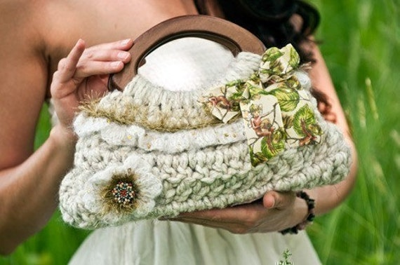 Crochet Small Purse : Small Spring Ruffle Purse Crochet Pattern PDF by JackieMoon