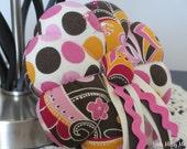 "SALE ~ Pink and Brown Polka Dot 5"" Pin Cushion, Ready to Ship"
