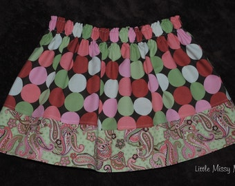 Clearance...Size 3/4T Ready to Ship, Girls Twirl Skirt and FREE matching Hair Clip and Head Band, Dots and Paisleys, Beautiful Colors