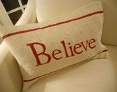 Believe White Burlap Pillow Slip