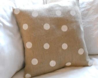 Cream Polka Dots and Burlap Pillow Slip