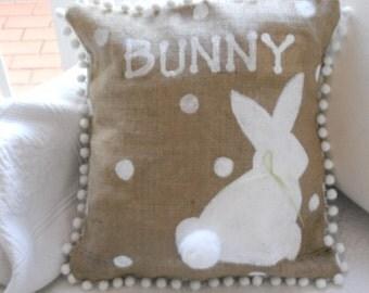 Bunny on Burlap Pillow Slip