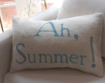 Ah, Summer White Burlap Pillow Slip
