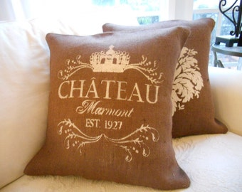 Chocolate Burlap Chateau Marmont Pillow Slip
