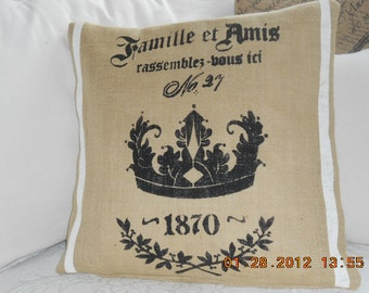 Famille et Amis........Family and Friends............Natural Burlap Pillow Slip