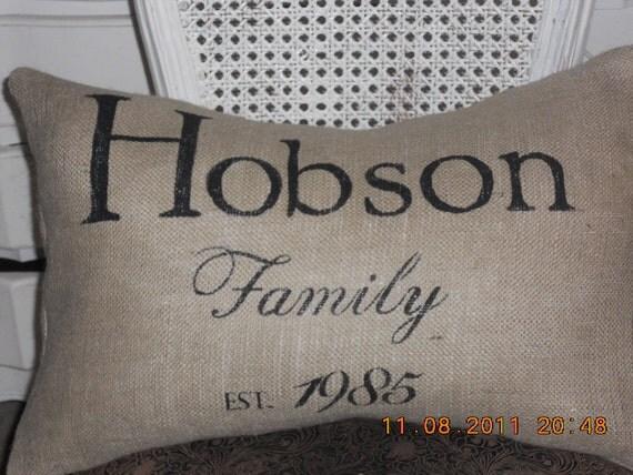 Custom Family Burlap Pillow Slip