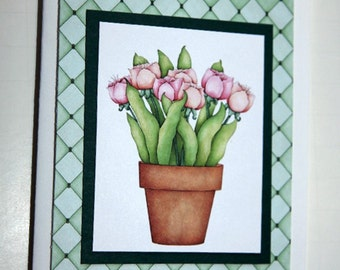 Tulips in Flower Pot Greeting Card Set of 4