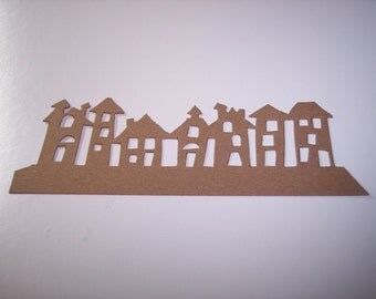 Border Die Cut Houses set of 4
