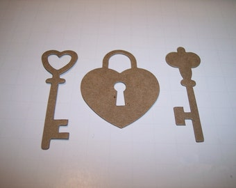 Chipboard Lock and Keys Die Cut