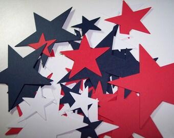 Red, White & Blue Star Die Cuts Set of 36