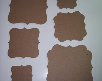 Fancy Squared Chipboard Die Cuts Set of 12