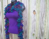 Hand Knit Ruffle Flamenco Scarf in Purple, Burgundy, and Blue