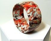 Tangerine Tango Decoupage Collage Abstract Art Bangle OOAK Wearable Art Statement Bracelet