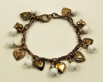 15% Off SALE New/Old Vintage Brass Heart Charm Bracelet with White Jade Beads OOAK / Gift for Her / Statement Bracelet / OOAK