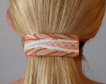 Silk Tangerine Tango Abstract Printed Ponytail Pony Tail French Hair Clip  Barrette / OOAK / Gift for Her / Hair Accessories