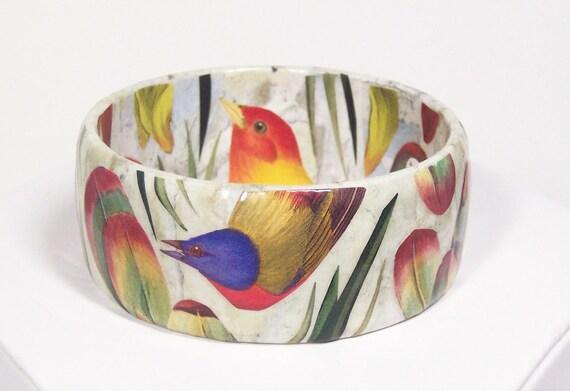 Sale...was 65.00 Tropical Birds, Flowers and Foliage Decoupage Bangle Bracelet