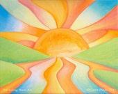 ACEO Summer Sun Landscape Orange Gold Yellow Blue Sky River Green