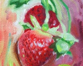 Small Oil Painting Red Green Pink Summer Strawberries 4 x 5 inch - A Painting a Day