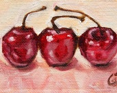 SFA Small Oil Still Life Painting - Cherries - A Painting A Day