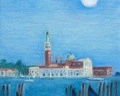 Venice Oil Painting Small Oil Painting SFA Venice Blue Moon Water Gondolas 5 x 6 inches Oil on Panel