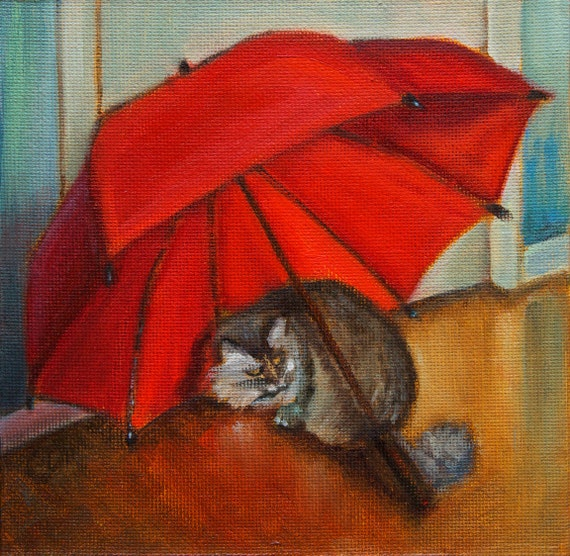 Red Umbrella Cat Print Reproduction Red Umbrella Realism Maine Coon Cat Red Gold Brown Blue White