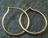 "Tiny 14kt Gold Hoop Earrings - Solid 14k Hoops - 5/8"" Gold Hoop Earrings - Hand Hammered Gold Hoops - Contemporary Jewelry - Simple Hoops"
