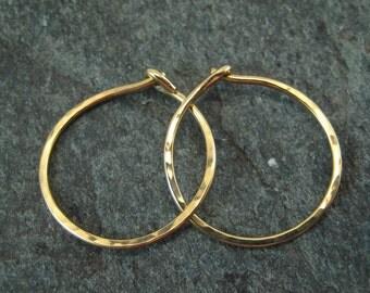 18K Hoop Earrings - Hammered Gold Hoops - 18k Minimalist Hoops - Simple Hammered Hoops - Fine Jewelry - 3 Quarter Inch Hoops