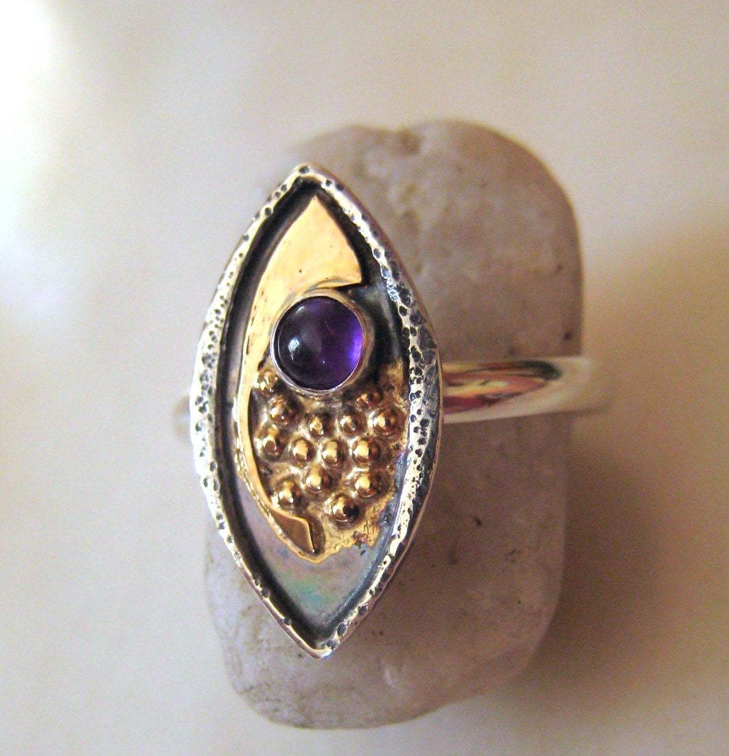 sterling and 14kt gold amethyst ring unique ring