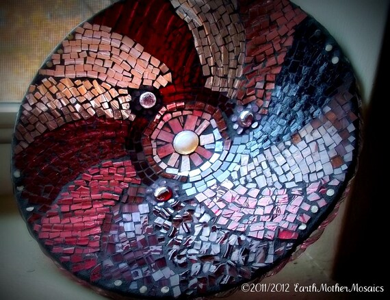 Purple and Pink Glass Mosaic Bowl, Upcycled Vintage Bowl, Stained Glass, Purple Swirls