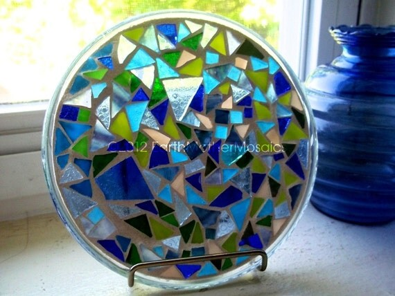 Stained Glass Mosaic Suncatcher, Mosaic Trivet, Ocean, Blue, Green, Healing, Water, Soothing, Birthday, Housewarming - 6 inches