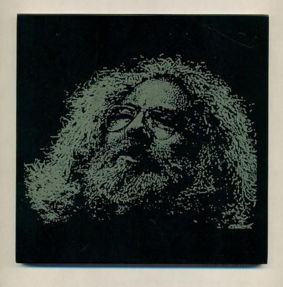 GRATEFUL DEAD Jerry Garcia Etching on Black Marble Tile