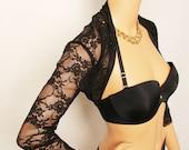 Shrug / Lace Shrug / Black Lace Shrug / Bolero / Bridal Shrug / Bridal Accessories / Lace Bolero
