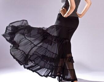 Womens Skirt, Maxi Skirt, Black custom skirt, classic skirt, boho skirt,Silk Skirt