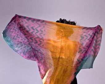 Hand Dyed Chiffon Silk scarf/ shawl for all seasons