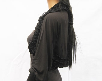 Black Long Sleeves bridal shrug lace bolero jacket wedding bolero cardigan