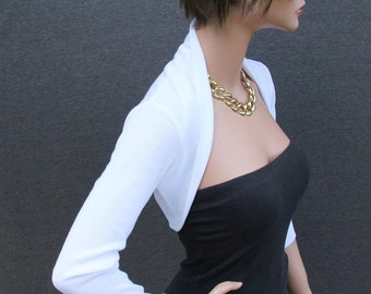 White Knit Shrug // jacket//  day// evening // top SS-WT