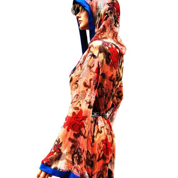 Sheer Silk  Mini Hooded Dress with Trim